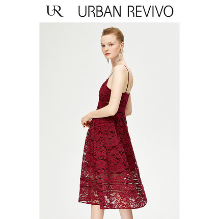 Đầm UR2019 mùa thu mới của phụ nữ quyến rũ móc hoa ren dây đeo WE29S7AE2008