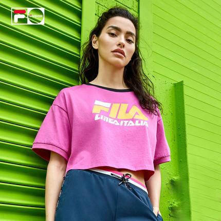 Áo thun FILA PHIM FUSION Áo thun nữ dệt kim ngắn tay 2019 Thu mới Thương hiệu thủy triều giản dị Loo
