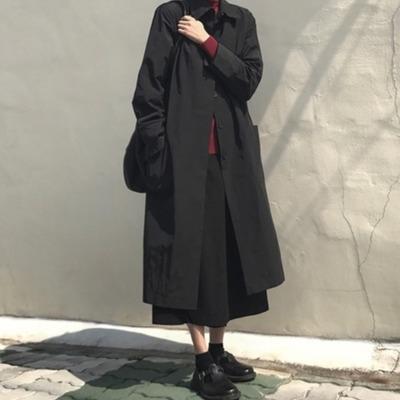 áo khoác Hàn Quốc mùa thu mới tối lỏng lẻo đơn giản áo khoác vừa áo gió mỏng dài