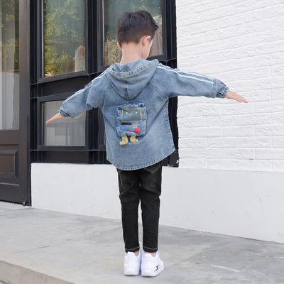 Áo khoác trẻ em  Áo khoác trẻ em 2019 mùa thu mới in phim hoạt hình áo khoác denim Phiên bản Hàn Quố