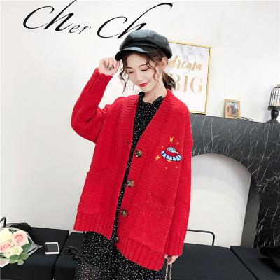 áo khoác Mùa thu đông 2019 mẫu áo len dệt kim nữ áo khoác dài thêu lỏng phiên bản lớn của áo len hoa