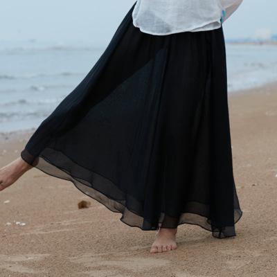 Quần Casual  Nghệ thuật mùa hè mới hai lớp quần yoga thiền rộng chân quần dài quần hoang dã nữ K3403