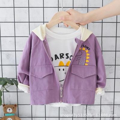 Áo khoác trẻ em  2019 bé trai và bé gái mới trùm đầu áo gió dây kéo áo khoác mùa thu và mùa đông trẻ