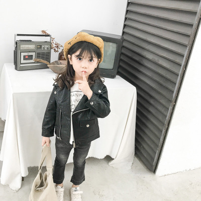 Áo khoác trẻ em  Áo khoác da cho bé gái 2019 xuân hè mới bé trai và bé gái ngắn pu da trẻ em áo khoá