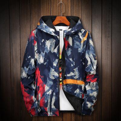 áo khoác Áo khoác nam 2018 mùa thu mới Hàn Quốc thời trang ngụy trang áo khoác hai mặt trùm đầu Slim