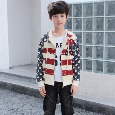 Áo khoác trẻ em  Áo khoác bé trai mùa thu 2019 cho bé lớn mới năm cánh sao in áo trẻ em một thế hệ đ