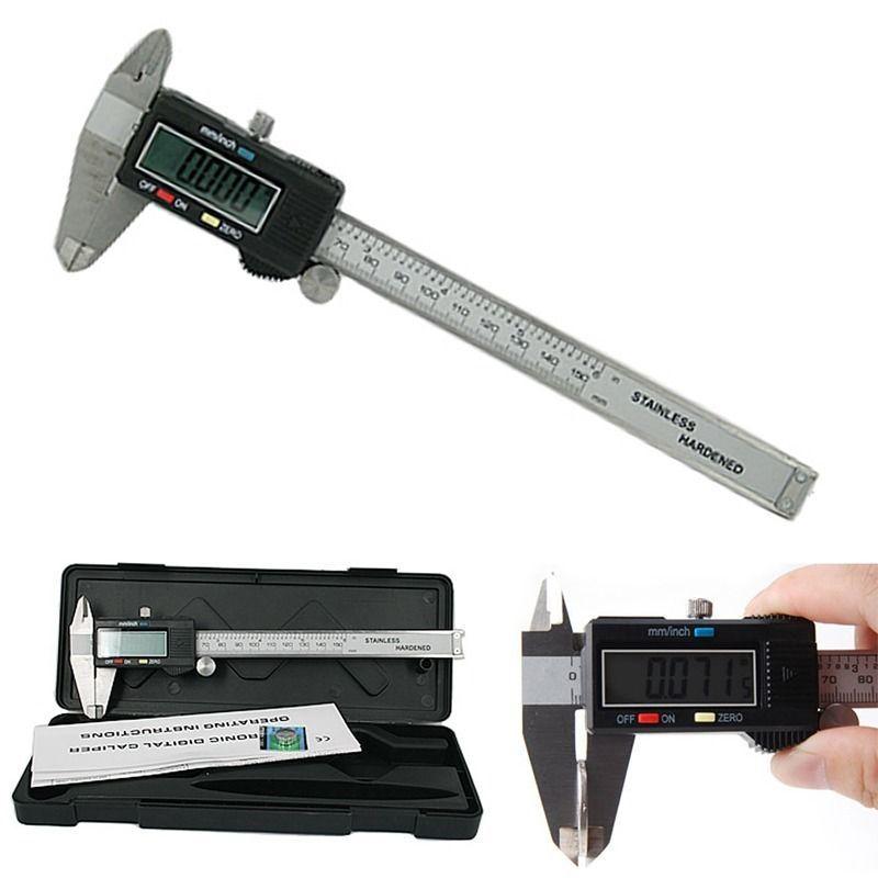 MF Thước kẹp điện tử hiển thị kỹ thuật số 0-150mm thép không gỉ màu đen
