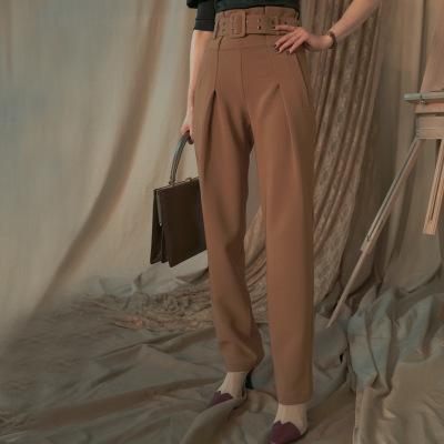 Quần Casual  Thiết kế độc lập thương hiệu mùa thu mới mới đôi kim mắt cao eo đơn giản quần dài thẳng