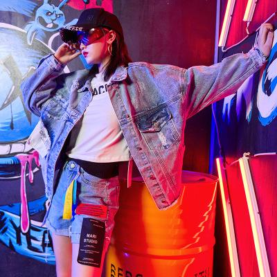 Áo khoác Bán buôn áo khoác denim nữ hip hop in retro port gió 2019 mùa thu mới
