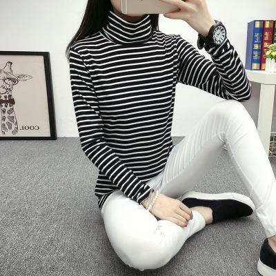 tay dài Áo nhung mỏng cổ cao sọc đáy áo sơ mi nữ mùa thu đông Hàn Quốc phiên bản cỡ lớn Slim co giã