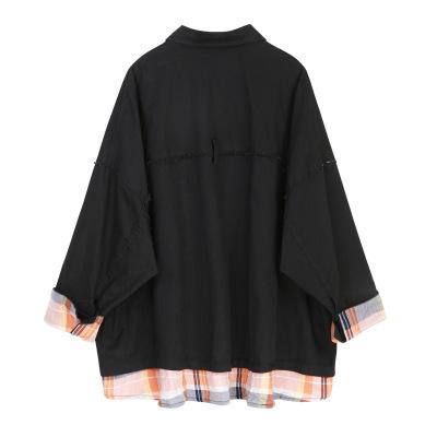 Áo khoác giả hai dây nữ 2019 đầu thu mới thiết kế hốc lưới khâu áo ngắn giản dị