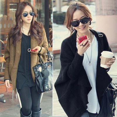 áo khoác Phiên bản Hàn Quốc của mùa thu và mùa đông của phụ nữ mới tay áo dài dơi khăn choàng dài kí