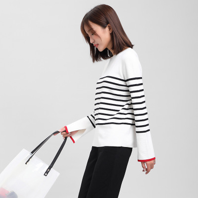 áo khoác Áo len một cổ đan Phụ nữ mùa thu đông 2019 phiên bản mới của Hàn Quốc áo khoác dài tay sọc