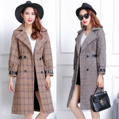 áo khoác Áo khoác len kẻ sọc mới mùa thu và mùa đông 2019 dành cho nữ trung niên Phiên bản Hàn Quốc