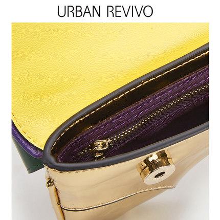 Túi xách nữ thời trang  UR ĐÔ LA REVIVO2019 phụ nữ trẻ trung mới phụ kiện túi khảm màu tương phản A