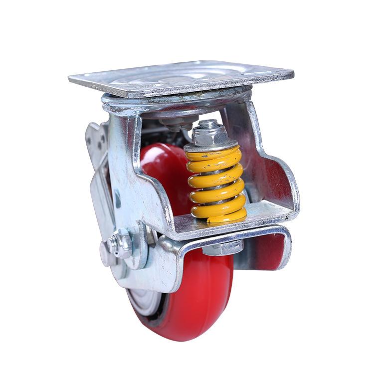 AOSHEN bánh xe đẩy(Bánh xe xoay) Bánh xe lò xo dọc giảm xóc 5 inch 6 inch 8 inch polyurethane phẳng
