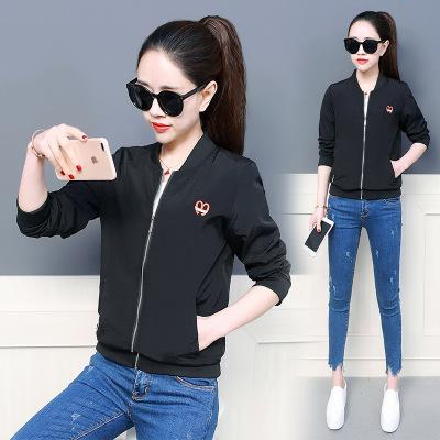 Áo khoác 19 áo khoác mùa xuân và mùa thu mới của phụ nữ thêu áo phiên bản Hàn Quốc của cổ áo là đồng