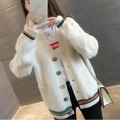 áo khoác Mùa xuân và mùa thu 2019 mới phiên bản Hàn Quốc của áo len cổ chữ V hoang dã nhỏ áo len nữ