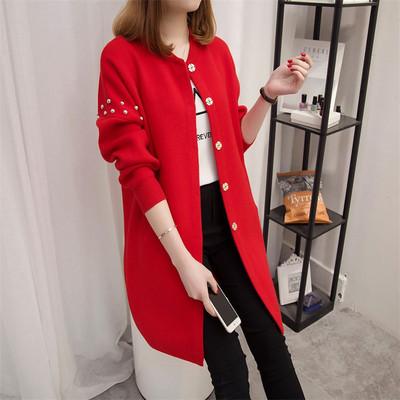áo khoác Áo len dệt kim nữ dài tay mùa thu đông 2019 phiên bản mới của Hàn Quốc áo len dài tay đính