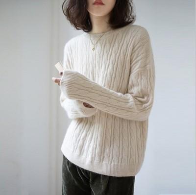 tay dài Đơn giản mùa thu và mùa đông mới áo len cashmere dày của phụ nữ áo len lười gió rắn màu áo