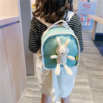 Cặp học sinh Hot  Túi xách trẻ em Hàn Quốc 2019 thu đông và túi chống vai đơn giản, ba lô thỏ nam và
