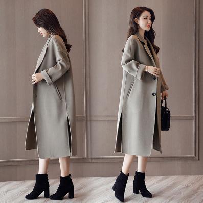 áo khoác Áo khoác len hai mặt chống mùa nữ dài trên đầu gối 2019 mùa thu và mùa đông mới phiên bản á