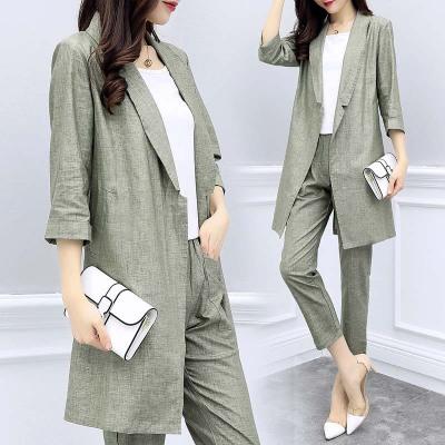 áo khoác 2019 phụ nữ mới mùa xuân và mùa hè cotton và áo blazer hai mảnh chín quần phù hợp với thời