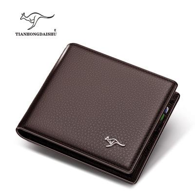 Ví đựng thẻ  Ví cầm tay Tianhong Kangaroo Da nam ngắn Da chính hãng Lớp da chéo Ví tiền kinh doanh T