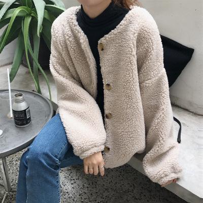 áo khoác Mùa thu và mùa đông mới Hàn Quốc nút lười cừu mềm mại áo khoác lông cừu dày nữ SS009