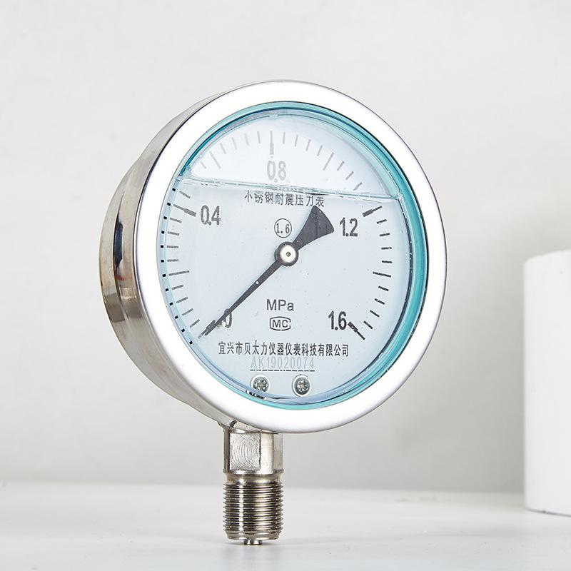 BEITAILI Đồng hồ đo áp suất bằng thép không gỉ chống sốc