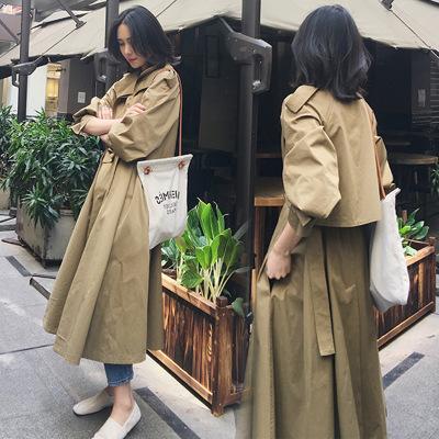 áo khoác Áo gió mới 2019 nữ mùa thu gió lộng lẫy retro thắt lưng thon dài dài qua đầu gối áo khoác t