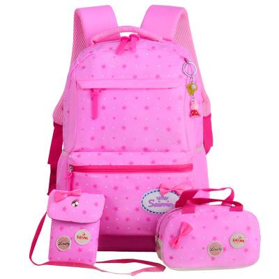 Cặp học sinh Hot Tên mới túi đi học 1-3-5 lớp ba mảnh đặt 3-4-5 nữ đeo vai nữ ba lô
