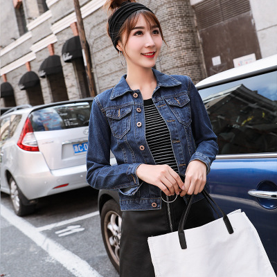 Áo khoác denim nữ Slim Hàn Quốc phiên bản 2019 thu đông mới thời trang lưới đỏ hoang dã áo khoác ngắ