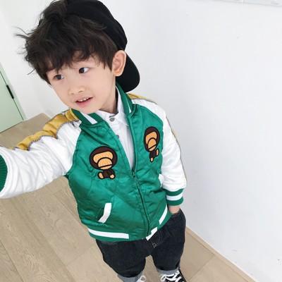 Áo khoác trẻ em  Quần áo trẻ em nổ 2019 mùa thu và mùa đông mới bé trai và bé gái thêu khỉ áo khoác