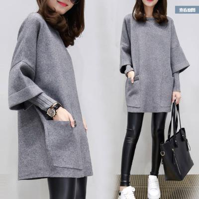 áo khoác Mùa thu đông 2019 mới size lớn cho phụ nữ béo MM lỏng lẻo khâu áo khoác dài tay áo sơ mi dà