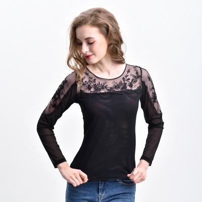 tay dài Áo mới ren đáy quần jacquard dài tay mùa thu quần áo phụ nữ mặc gợi cảm trong suốt cổ tròn