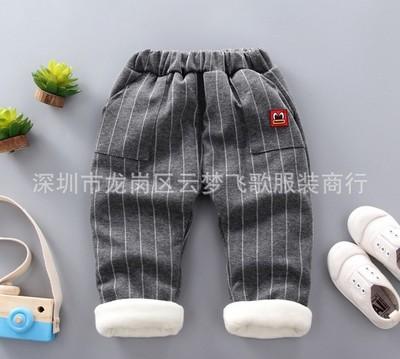 Quần trẻ em  Mùa đông mới bé trai thể thao quần dài quần áo trẻ em bé gái trẻ em cộng với quần nhung