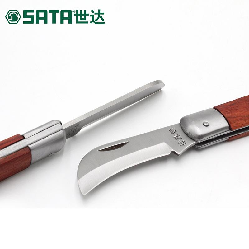 SATA Dao thợ điện Dụng cụ Shida Lưỡi thẳng cong tay cầm bằng gỗ cán dao điện 03109 03110
