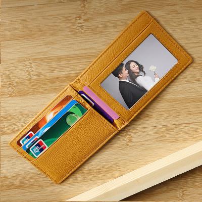 Ví đựng thẻ  [nhà máy bán hàng trực tiếp] gói thẻ tín dụng nam và nữ lớp da bò bằng da siêu mỏng giấ