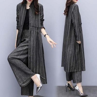 áo khoác Mùa xuân 2019 mới to size quần lửng nữ rộng rãi hai chiếc quần ống rộng thời trang giản dị