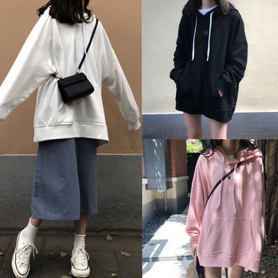 áo khoác Mùa thu đông 2019 áo len mới nữ màu rắn học sinh Hàn Quốc áo khoác rộng trùm đầu áo sơ mi d