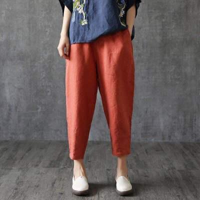 Quần Casual  Quần cotton cỡ lớn xuân hè 9 quần lỏng Harlan quần âu giả cotton cotton cà rốt một thế