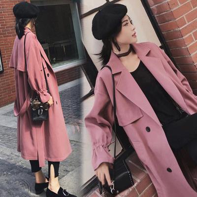 áo khoác Áo gió nữ 2019 mùa thu mới của sinh viên Hàn Quốc thả lỏng khí chất dài sang trọng qua đầu