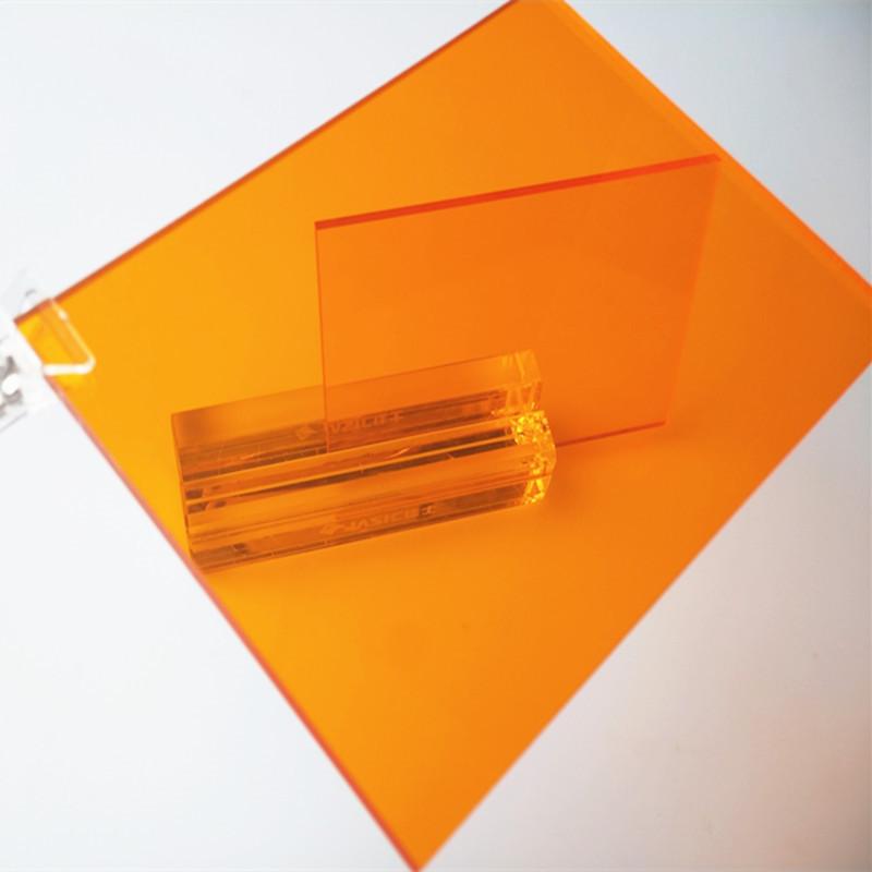 QIANHAO Ván nhựa (cuộn) Bảng màu cam 3 mm PC chống hồ quang màu vàng PC độ bền bảng trong suốt