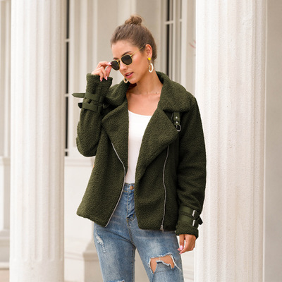 Áo khoác 2019 Amazon ngoại thương mùa thu và mùa đông sang trọng áo khoác ngắn tay áo cổ áo thẻ sắt