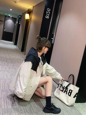 Áo khoác Công cụ áo khoác nữ trùm đầu mùa thu 2019 phiên bản Hàn Quốc mới của màu lỏng kết hợp áo dà