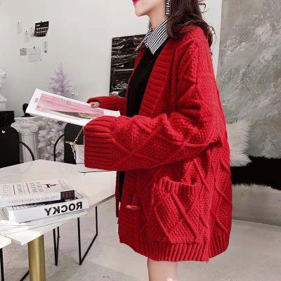 áo khoác Áo len cổ lọ màu đỏ rất lười gió cardigan nữ dài tay lưới màu đỏ dày áo len xuân 2019 mới