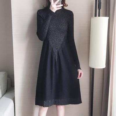 tay dài Áo len nữ mùa thu 2019 đầm mới đan với váy dài qua đầu gối nửa cổ cao chạm đáy áo