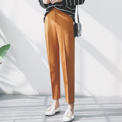 Quần Casual  2019 mới Hàn Quốc quần âu nữ Harlan hoang dã chân mỏng quần thuốc lá eo cao chín điểm d