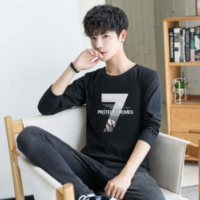 tay dài Áo len nam dài tay Hàn Quốc áo thun xu hướng xuân hè mới cá tính mới chạm đáy áo sơ mi Slim
